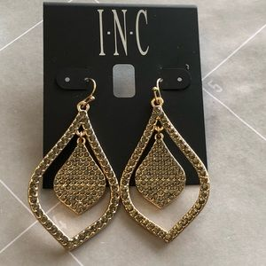New INC gold drop and Smokey crystals earrings